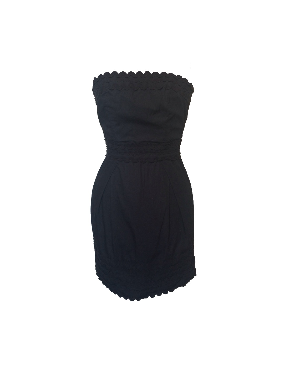 63dcccdbcb79 Size 4 French Connection Scalloped Strapless Dress - Wooden Hanger
