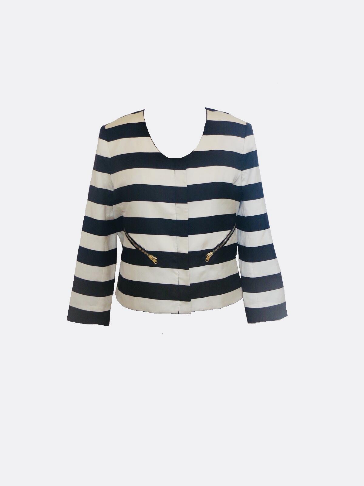 2bc88d5ea4 Size 10 Club Monaco Black And Cream Striped Jacket - Wooden Hanger